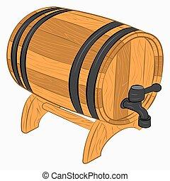 barril madeira, de, cerveja