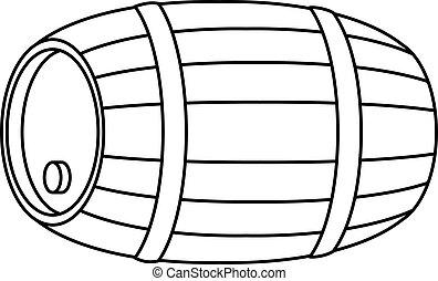 barril, madera, contorno