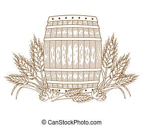 barril, trigo, orelhas
