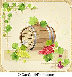 barril, uvas, vinho