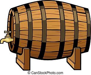 barril, vendimia, cerveza, vector