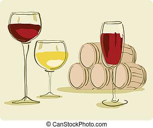 barril, vidro vinho