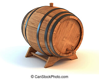 barril, vinho, ilustração, 3d