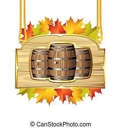 barril, vinho, madeira