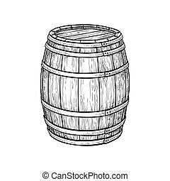 barril, vino, cerveza, o
