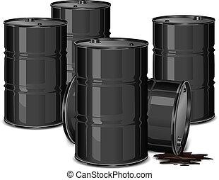 barriles, con, aceite