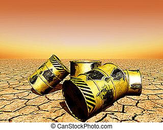 barriles, desperdicio, radioactivo