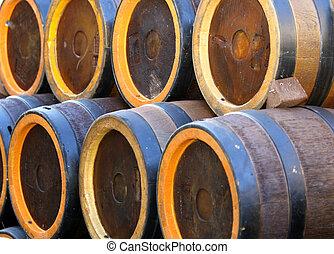 barriles, espíritus, sótano, como, aguardiente, contener, o, vino