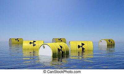 barriles, radioactivo, biohazard, superficie, amarillo, mar,...
