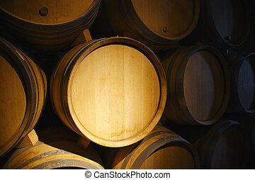 barriles, sótano, viejo, vino