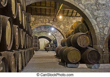 barriles, sótano, vino