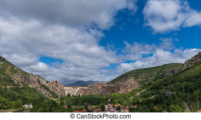 Barrios de Luna dam and village closeup in Leon, Spain - ...