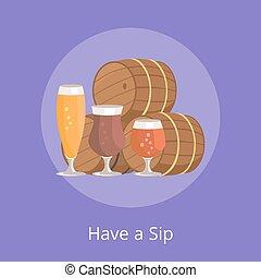 barris, gole, três, ilustração, cerveja, vetorial, ter