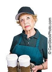 barrista, personne âgée femme