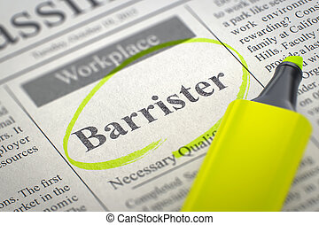 Barrister Job Vacancy. 3D. - Barrister. Newspaper with the ...