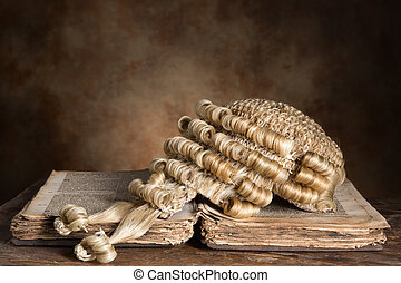 Barrister's wig on old book - Genuine horsehair barrister's...