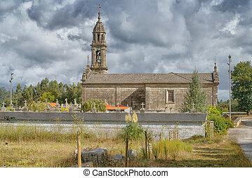 Igrexa de San Mamede da Portela in Barro, a small village on the Camino de Santiago trail close to Pontevedra, Galicia, Spain