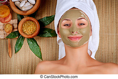 barro, salón, mujer, mask., balneario