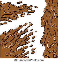 barro, salpicaduras, caricatura