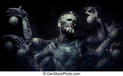barro, seis, brazos, hombre, pesadilla