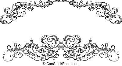 barroco, caligrafía, dos, curvas