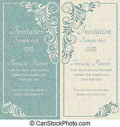 barroco, convite casamento, azul, e, bege