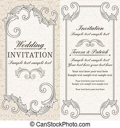 barroco, convite casamento, cinzento, e, bege