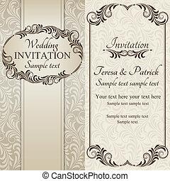 barroco, convite casamento, marrom