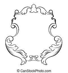 barroco, decorativo, marco, arquitectónico, ornamental