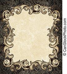 barroco, grabado, marco, florido