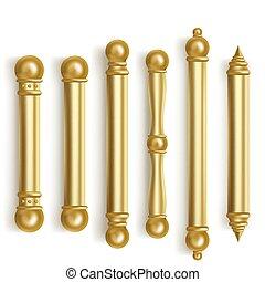barroco, habitación, oro, puerta, interior, manijas