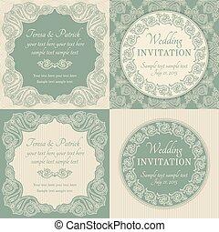 barroco, invitación boda, conjunto, azul, y, beige