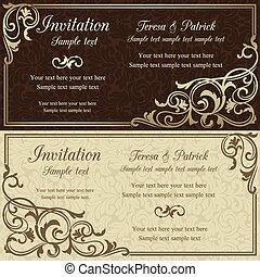 barroco, invitación boda, marrón