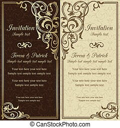 barroco, invitación boda, marrón