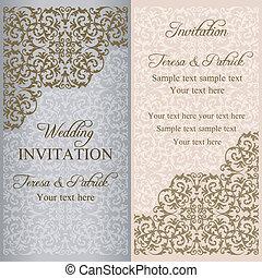 barroco, invitación boda, pátina