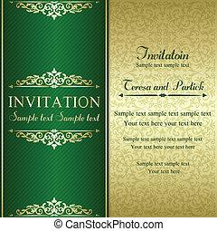 barroco, invitación, oro, y, verde