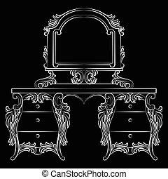 barroco, muebles, tabla, aliño, espejo, marco