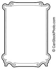 barroco, negro, cartouche, rizado, marco