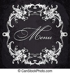 barroco, ornamental, marco