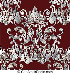 barroco, real, seamless, pattern.