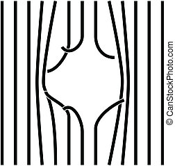 By bent and damaged bars. Vector illustration.