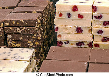 Bars of classical and white chocolate