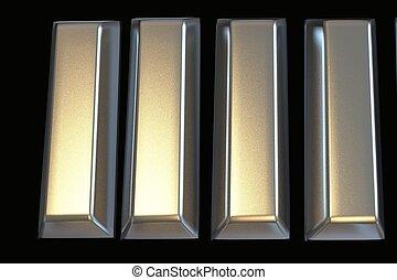 Bars of platinum bullion 3D .