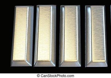 Bars of silver bullion 3D.Financial concept