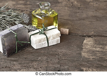 Bars of soap from olive oil and lavender flower