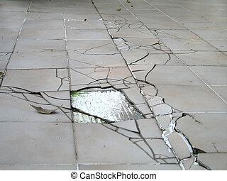 barst, aardbeving, vloer