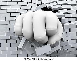barsten, muur, door, fist, baksteen, 3d