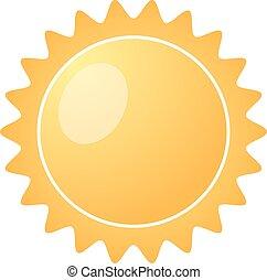 barsten, zon, vrijstaand, gele, achtergrond., vector, illustratie, witte , pictogram