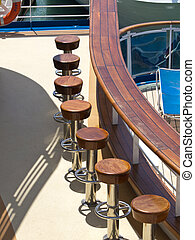 bar chairs on the cruise ship