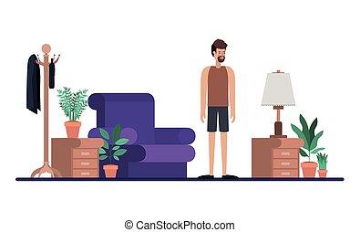 bart, livingroom, junger mann